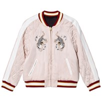 Chloé Pale Pink Satin Embroidered Bomber Jacket Reversible into Black S90