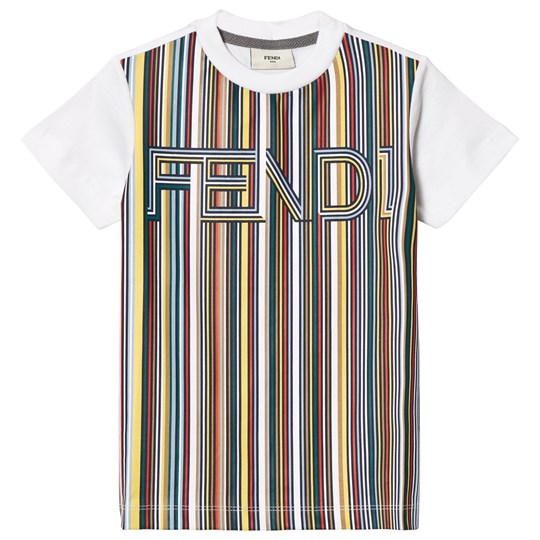 Fendi White Multi Stripe Fendi Tee F0VU8