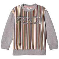 Fendi Grey Multi Stripe Branded Sweatshirt FOFXZ