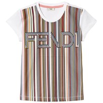 Fendi White Multi Stripe Fendi Tee F0VUA