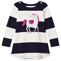 Joules Navy and White Stripe Horse Applique Jersey Dress FRENCH NAVY HORSE STRIPE