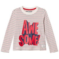 Joules Cream Stripe Awesome Long Sleeve Tee RED AWESOME