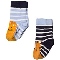 Joules 2 Pack of Navy Lion Socks Lion