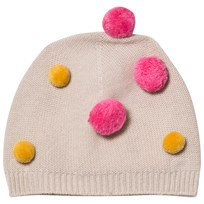 Il Gufo Beige and Multi Pom Pom Beanie 1328