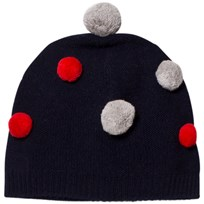 Il Gufo Navy and Multi Pom Pom Beanie 4907