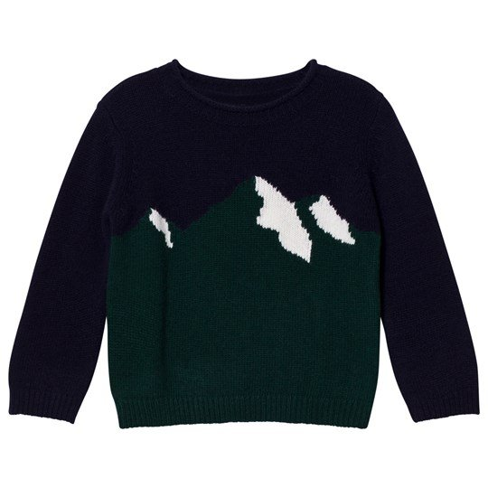 Il Gufo Navy and Green Mountain Intarsia Sweater 4957