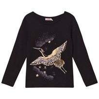 Billieblush Black and Gold Bird Embroidered Tee 09B