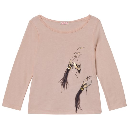 Billieblush Pale Pink Bird Tee with Sequins and Feathers 450
