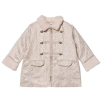 Billieblush Cream Jacquard Military Coat with Faux Fur Trims Z40