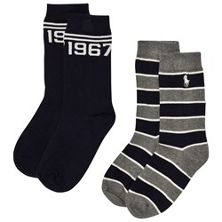 Ralph Lauren 2 Pack of Grey and Navy Stripe Socks with PP