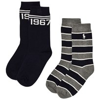 Ralph Lauren 2 Pack of Grey and Navy Stripe Socks with PP 001