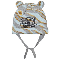Kenzo Pale Blue Tiger Embroidered Beanie with Ears