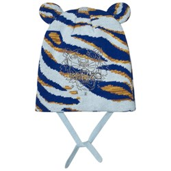 Kenzo Blue Tiger Embroidered Beanie with Ears