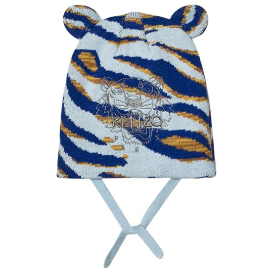 6eaabdab682 Kenzo - Blue Tiger Embroidered Beanie with Ears - Babyshop.com