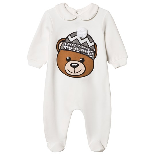Moschino Kid-Teen White Bear Applique Footed Baby Body in Gift Box 10063