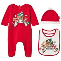 Moschino Kid-Teen Red Christmas Bear Print Footed Baby Body Hat and Bib Gift Box 50109