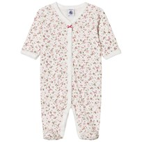 Petit Bateau Floral Print Footed Baby Body White