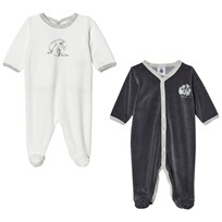 Petit Bateau 2-Pack Footed Baby Body White