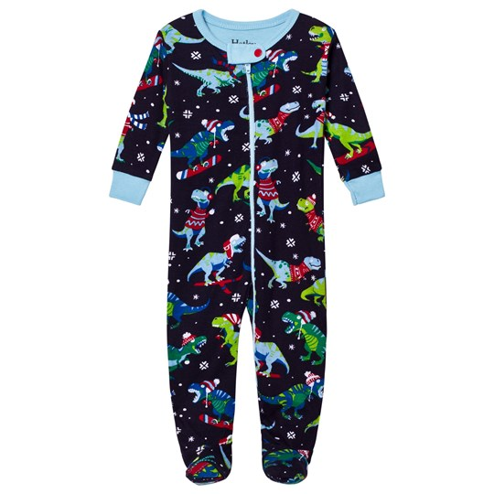 Hatley Christmas Dino Print Footed Baby Body Navy Navy