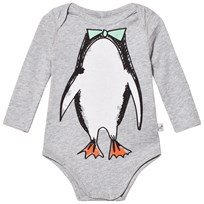 Stella McCartney Kids Grey Penguin Print Baby Body 1461