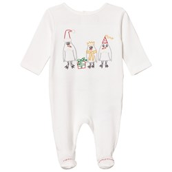 Stella McCartney Kids White Footed Baby Body Christmas Embroidery
