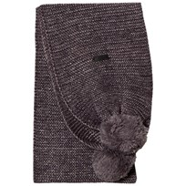Karl Lagerfeld Kids Grey and Silver Lurex Knit Double Pom Pom Scarf Z40