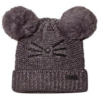 Karl Lagerfeld Kids Grey and Silver Lurex Knit Double Pom Pom Beanie Z40
