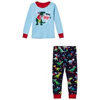 Hatley Blue Christmas Dino Applique/Print Pyjamas Blue