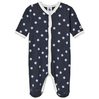 Petit Bateau Star Print Footed Baby Body Blue
