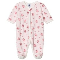 Petit Bateau Pink Velour Footed Baby Body Pink