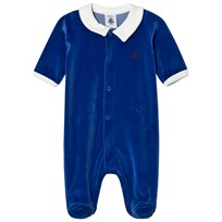 Petit Bateau Blue Velour Footed Baby Body Blue