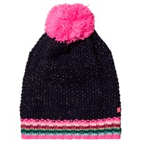 Le Big Navy and Stripe Knitted Bobble Hat 695