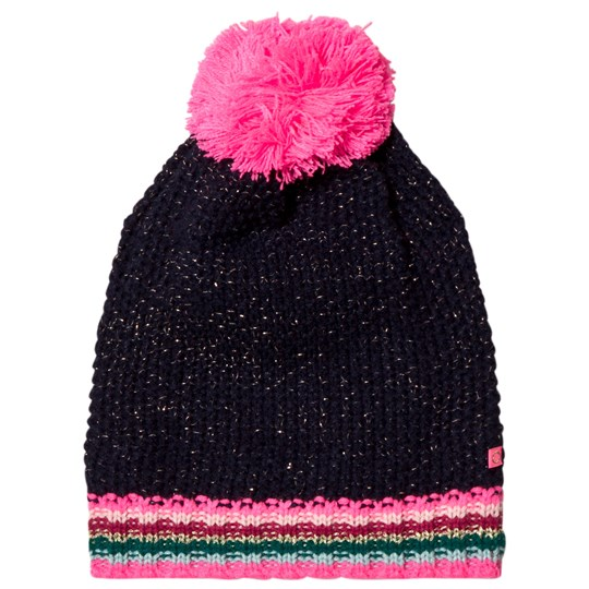 Le Big Navy Stripe Knitted Bobble Hat 695