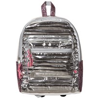 Le Big Silver Shiny Quilted Large Backpack