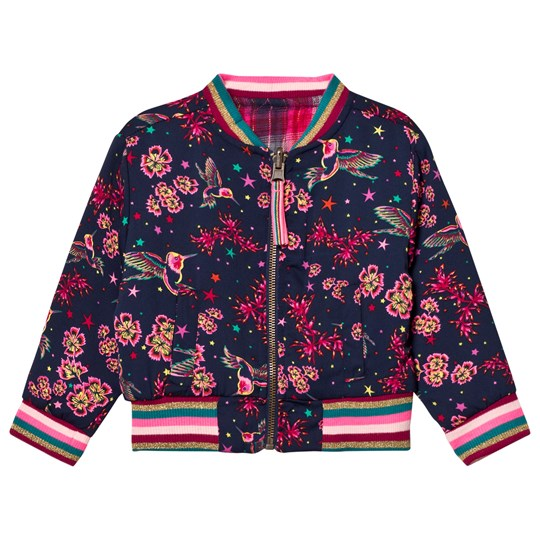 Le Big Navy Flower and Bird Reversible Bomber Jacket 695