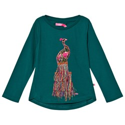 Le Big Green with Embroidered Peacock Long Sleeve Tee