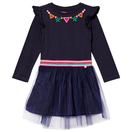 Le Big Navy Jersey and Tulle Embroidered Dress 695