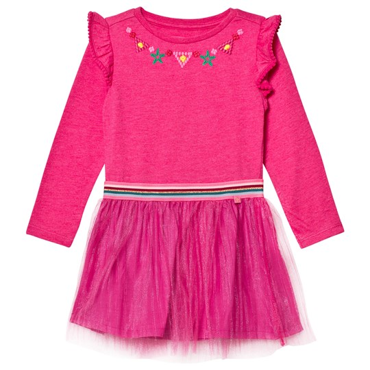 Le Big Pink  Jersey and Tulle Embroidered Dress