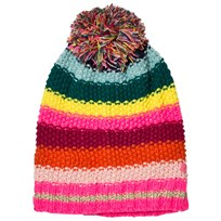 Le Big Multi Stripe Knitted Bobble Hat