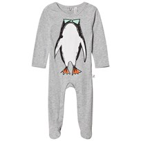 Stella McCartney Kids Grey Twiddle Penguin Footed Baby Body 1461