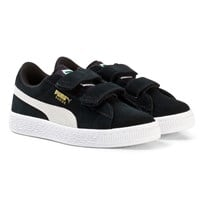 Puma Suede 2-Strap Youth Sneakers in Black Blk/Wht