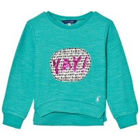 Joules Green Yay Sequin Applique Sweatshirt COOL GREEN YAY