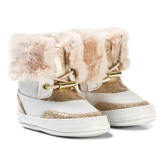 Michael Kors White and Gold Glitter Zia Baby Lulu White Gold