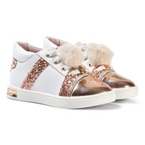 Michael Kors Rose Gold Pom Pom Zia Olly Raz-T Leather Trainers Rose Gold