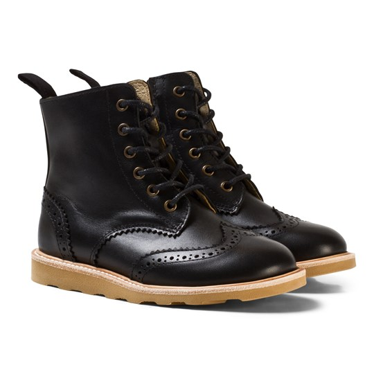 Young Soles Black Leather Sidney Zip and Lace Leather Boots Black