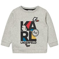 Karl Lagerfeld Kids Grey Marl Karl Print and Embroidered Sweatshirt A34