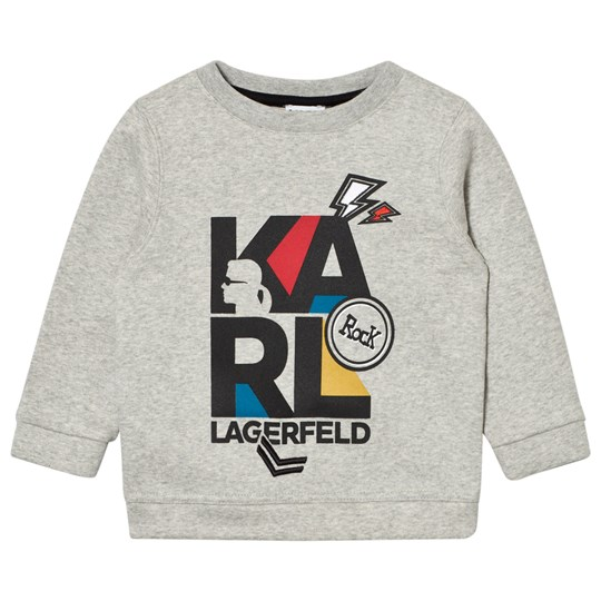 Karl Lagerfeld Kids Grey Marl Karl Print Embroidered Sweatshirt A34