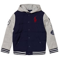 Ralph Lauren Grey and Navy Hybrid Sweat Bomber Jacket 001