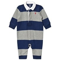 Ralph Lauren Grey and Navy Stripe Footless Rugby Babygrow 002