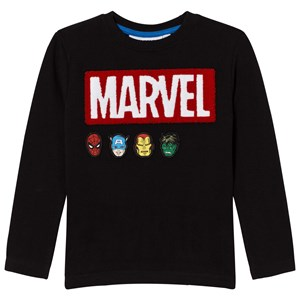 Image of Fabric Flavours Black Marvel Bouclé Logo Pique Tee 3-4 years (777652)